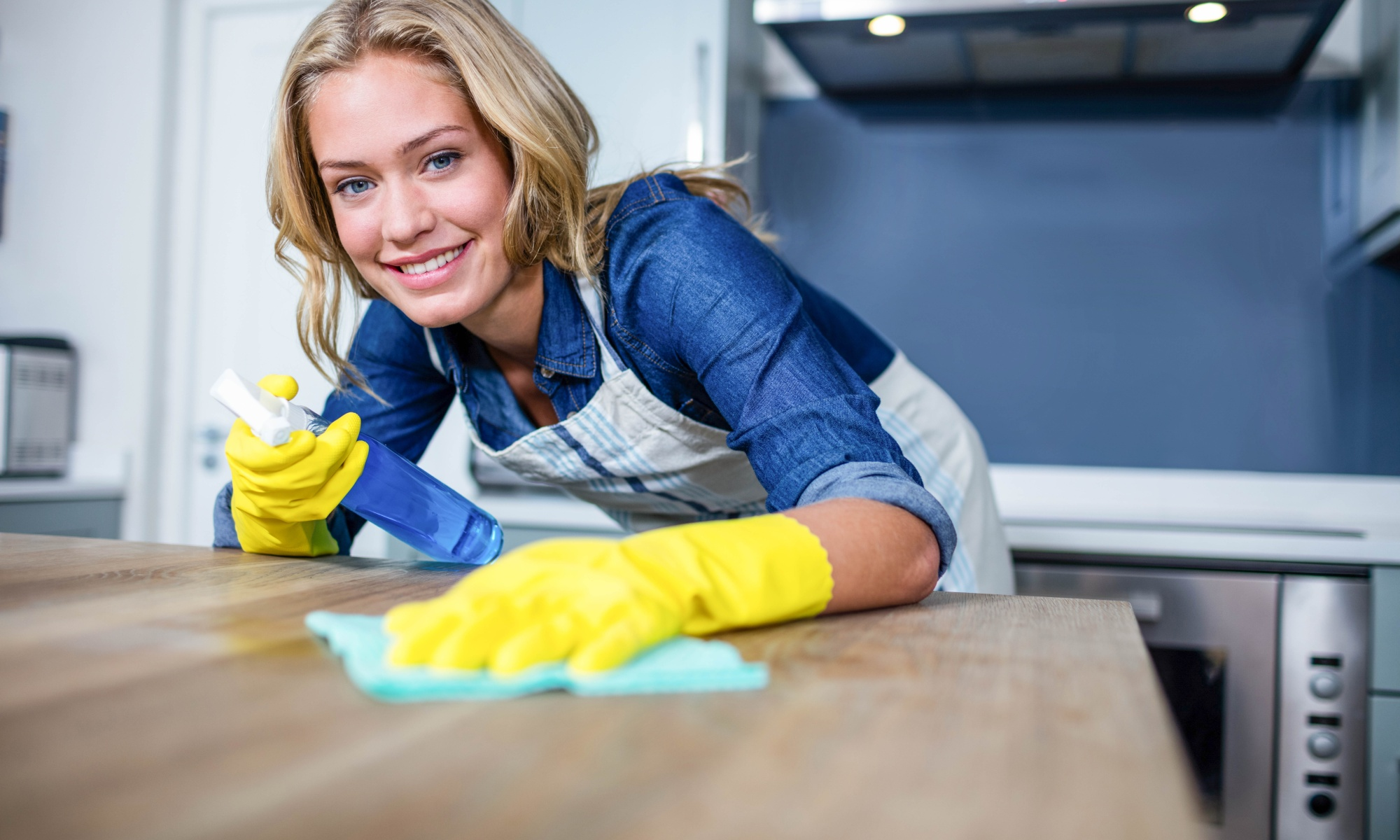 Woman cleaning up a traditional millennial